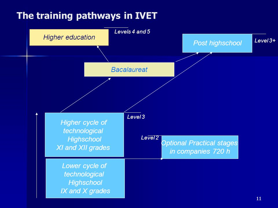 11 The training pathways in IVET Lower cycle of technological Highschool IX and X grades Higher cycle of technological Highschool XI and XII grades Op