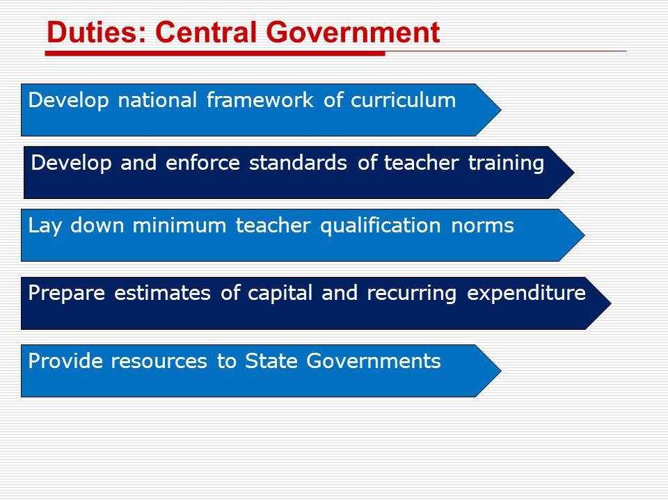 Duties: Central Government Develop national framework of curriculum Develop and enforce standards of teacher training Lay down minimum teacher qualifi