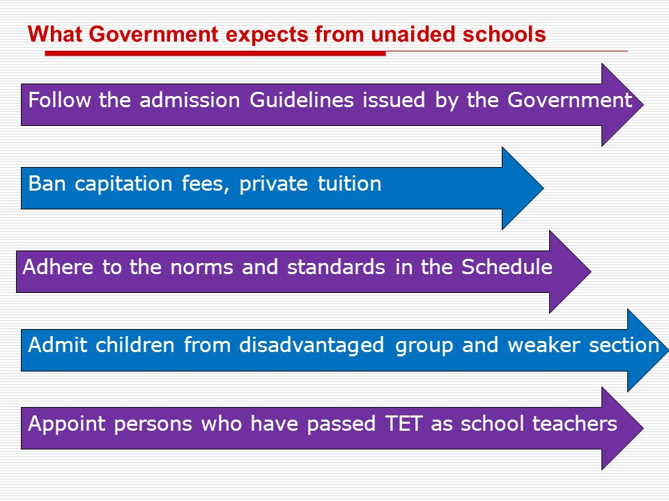 What Government expects from unaided schools Follow the admission Guidelines issued by the Government Ban capitation fees, private tuition Adhere to t