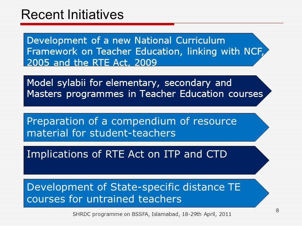 Recent Initiatives SHRDC programme on BSSFA, Islamabad, 18-29th April, 2011 8 Development of a new National Curriculum Framework on Teacher Education,