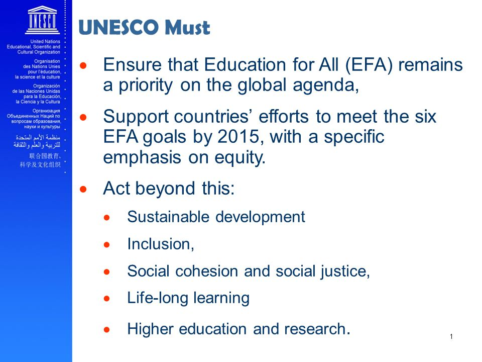 Ensure that Education for All (EFA) remains a priority on the global agenda, Support countries efforts to meet the six EFA goals by 2015, with a specific emphasis on equity.