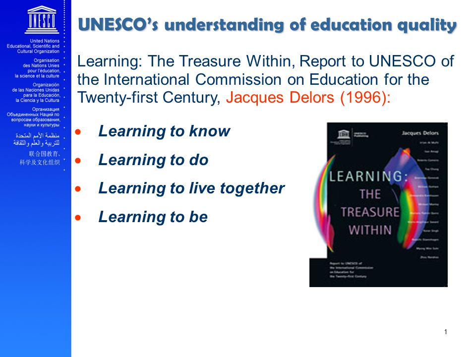 Learning to know Learning to do Learning to live together Learning to be Learning: The Treasure Within, Report to UNESCO of the International Commission on Education for the Twenty-first Century, Jacques Delors (1996): UNESCOs understanding of education quality