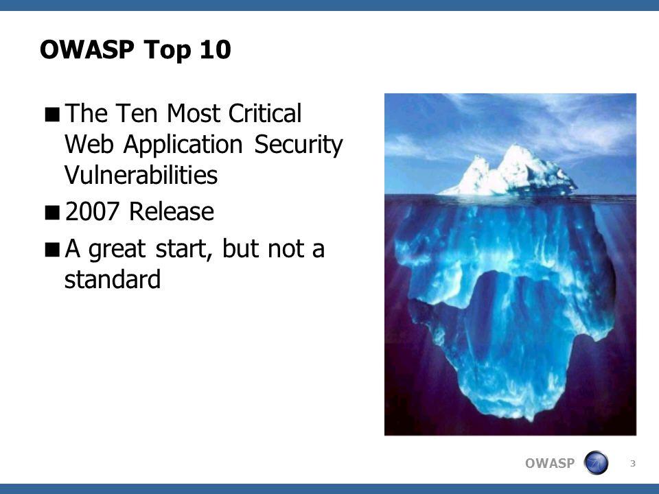 OWASP 3 OWASP Top 10 The Ten Most Critical Web Application Security Vulnerabilities 2007 Release A great start, but not a standard