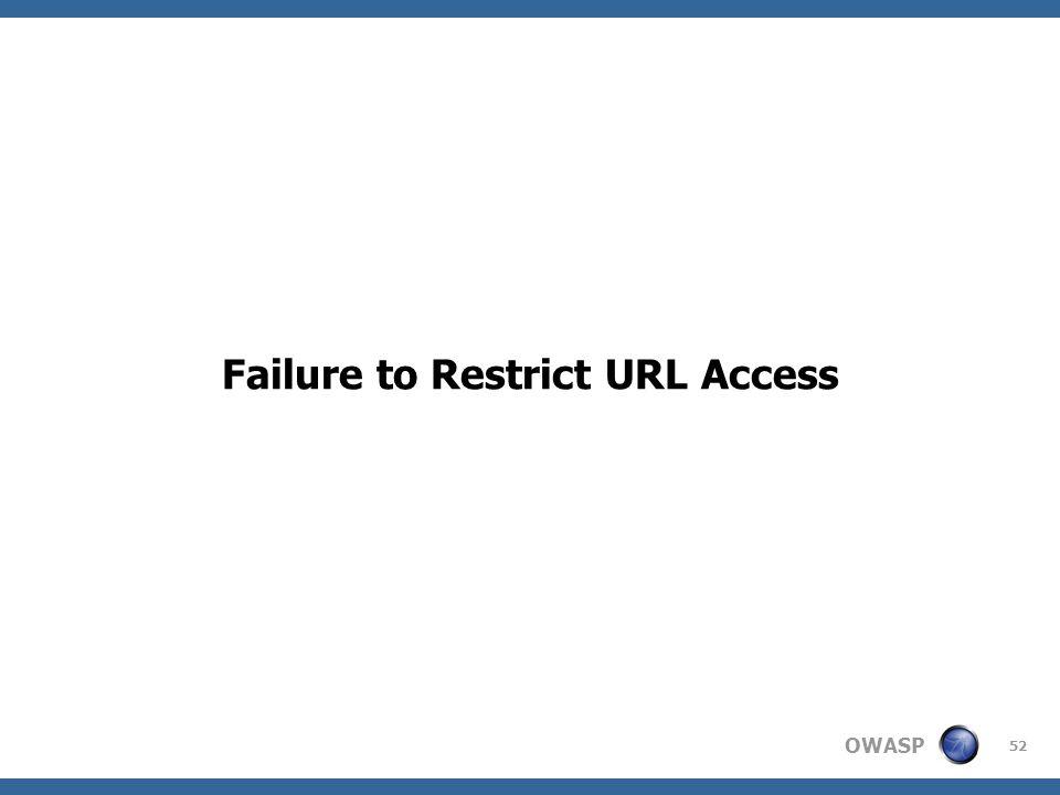 OWASP 52 Failure to Restrict URL Access