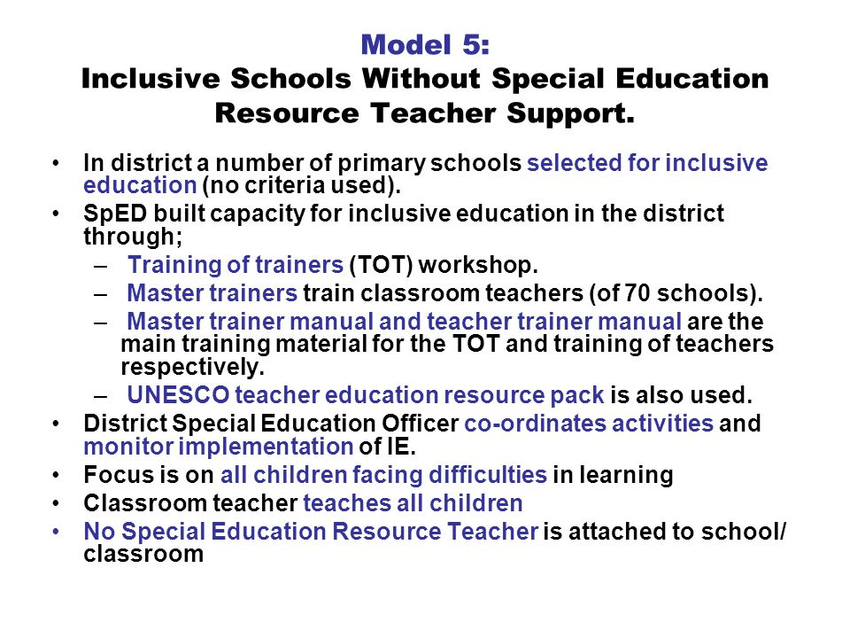 Model 5: Inclusive Schools Without Special Education Resource Teacher Support.