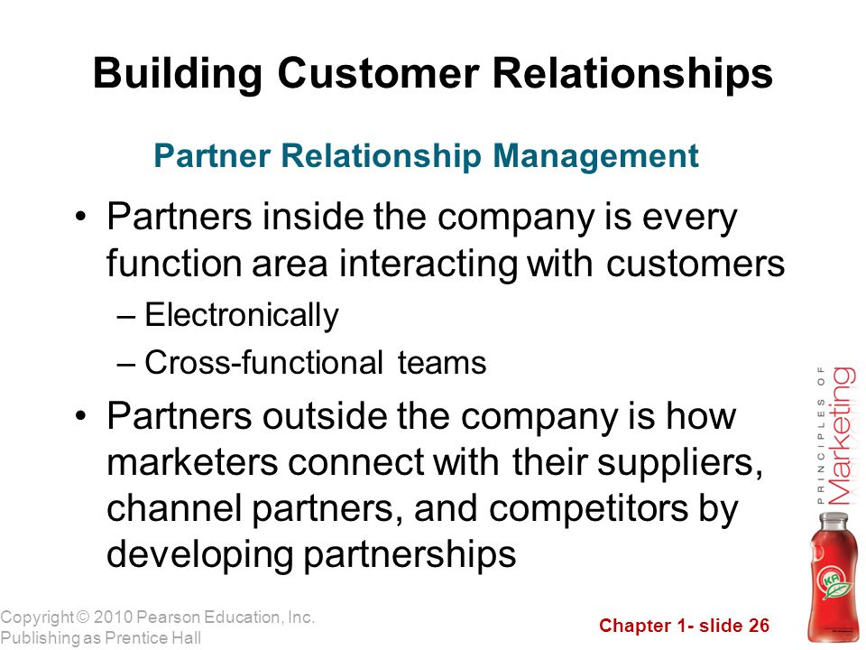 Chapter 1- slide 26 Copyright © 2010 Pearson Education, Inc. Publishing as Prentice Hall Building Customer Relationships Partners inside the company i