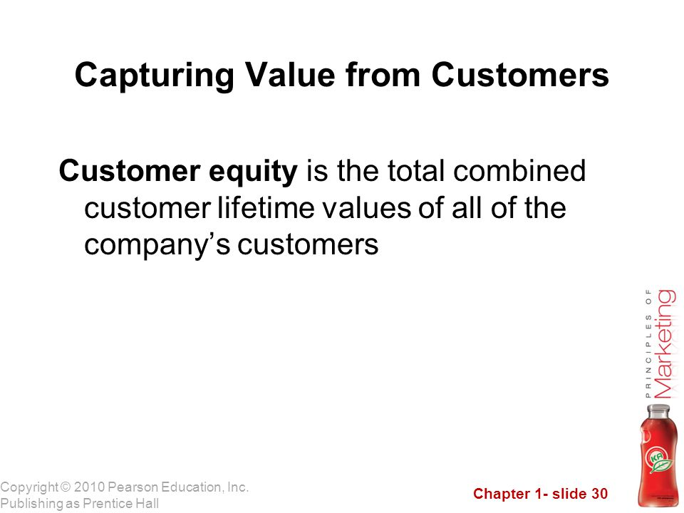 Chapter 1- slide 30 Copyright © 2010 Pearson Education, Inc. Publishing as Prentice Hall Capturing Value from Customers Customer equity is the total c