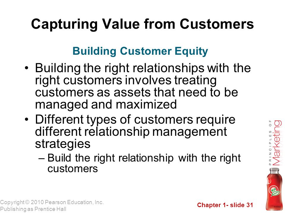 Chapter 1- slide 31 Copyright © 2010 Pearson Education, Inc. Publishing as Prentice Hall Capturing Value from Customers Building the right relationshi