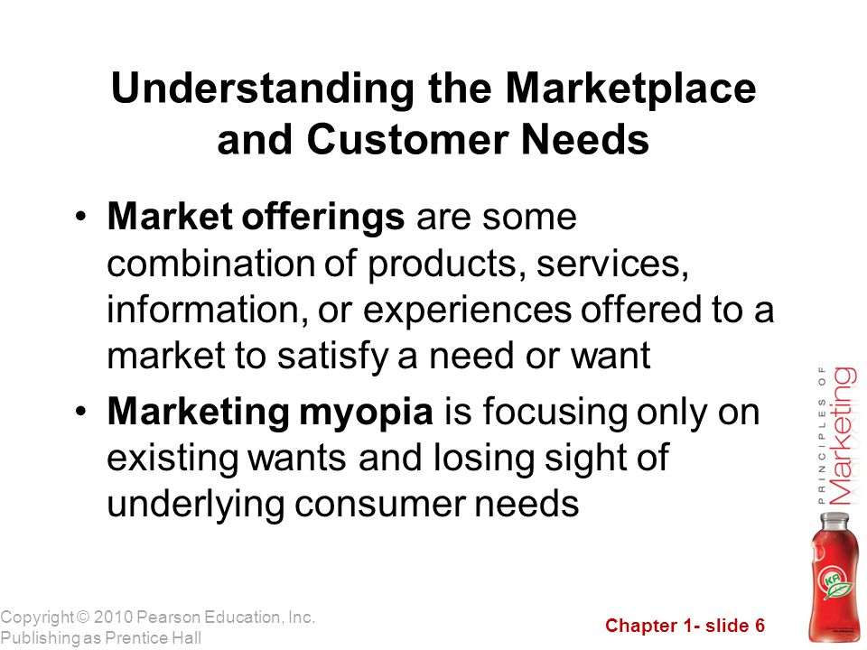 Chapter 1- slide 6 Copyright © 2010 Pearson Education, Inc. Publishing as Prentice Hall Market offerings are some combination of products, services, i