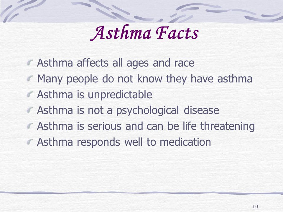 10 Asthma Facts Asthma affects all ages and race Many people do not know they have asthma Asthma is unpredictable Asthma is not a psychological diseas