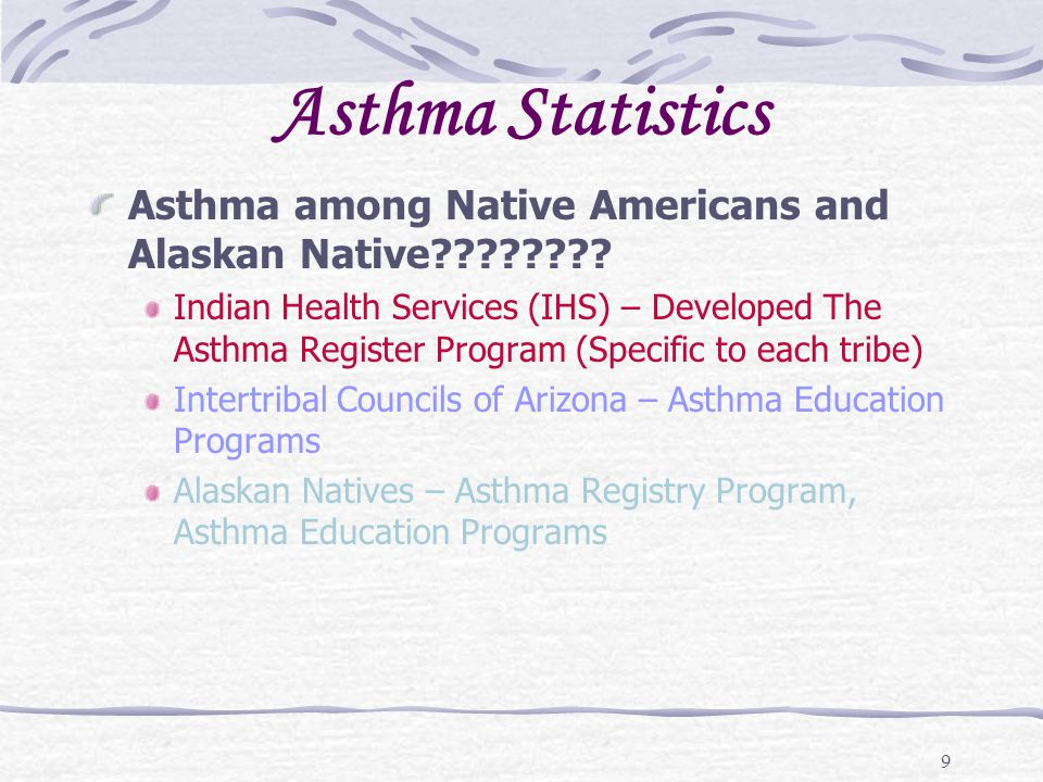 30 Early warning signs of asthma episode (cont.) These symptoms can be: Seasonal or year round Sudden or gradual Nighttime or daytime Only at certain places, such as the daycare, school, grandmas house, etc.