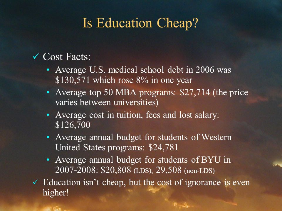 Is Education Cheap. Cost Facts: Average U.S.