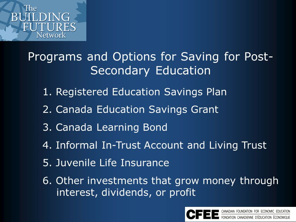 Programs and Options for Saving for Post- Secondary Education 1.