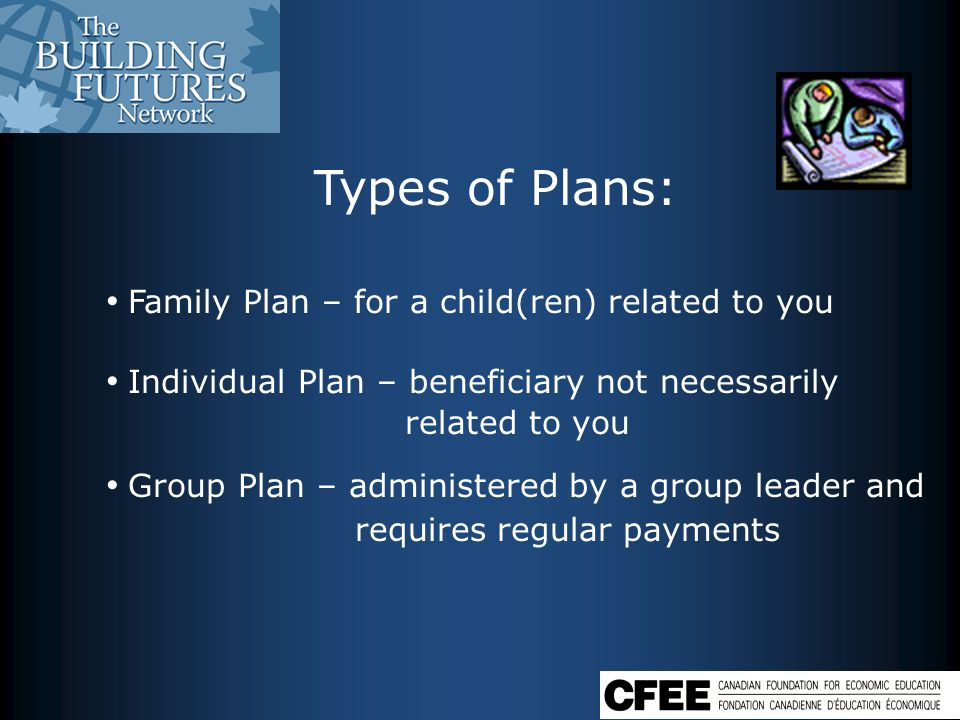 Types of Plans: Family Plan – for a child(ren) related to you Individual Plan – beneficiary not necessarily related to you Group Plan – administered by a group leader and requires regular payments