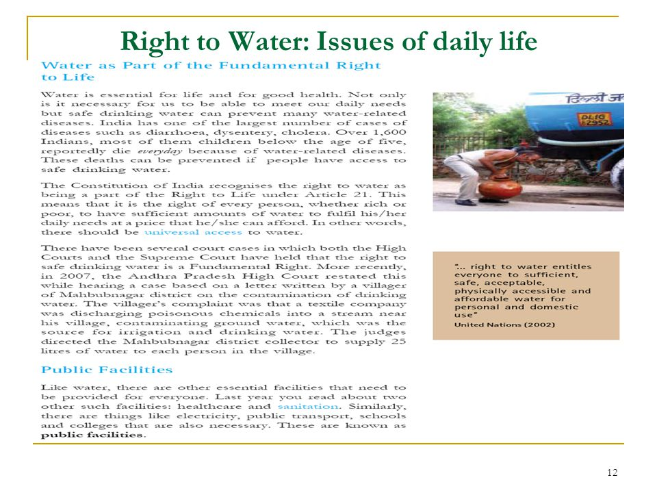 Right to Water: Issues of daily life 12