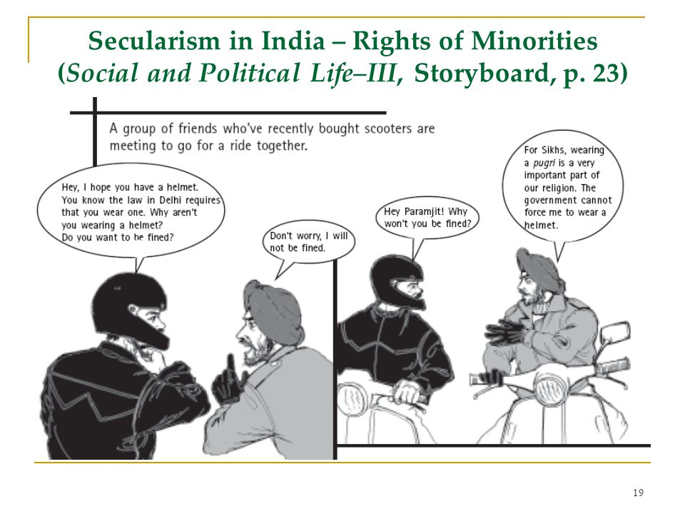 Secularism in India – Rights of Minorities (Social and Political Life–III, Storyboard, p. 23) 19
