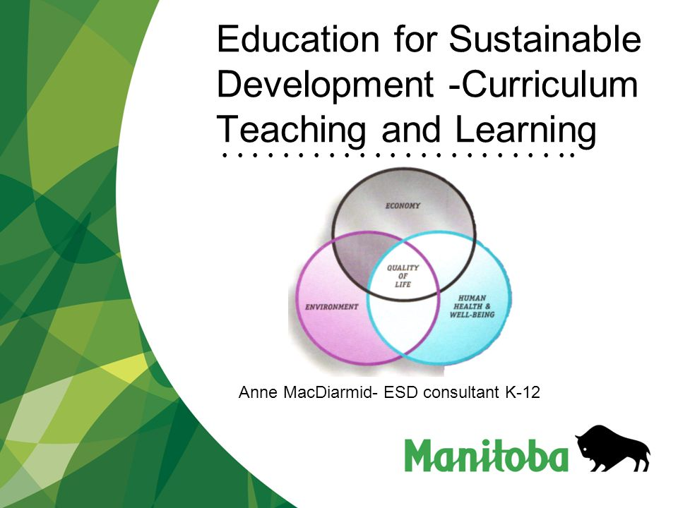 Manitoba Education, Citizenship and Youth Education for Sustainable Development What Does Educating for Sustainability Include… Knowledge Skills Values and Attitudes Behavior Preparing students, so that, as adults, they are able to deal with the challenges of living sustainably on both a local and global level.