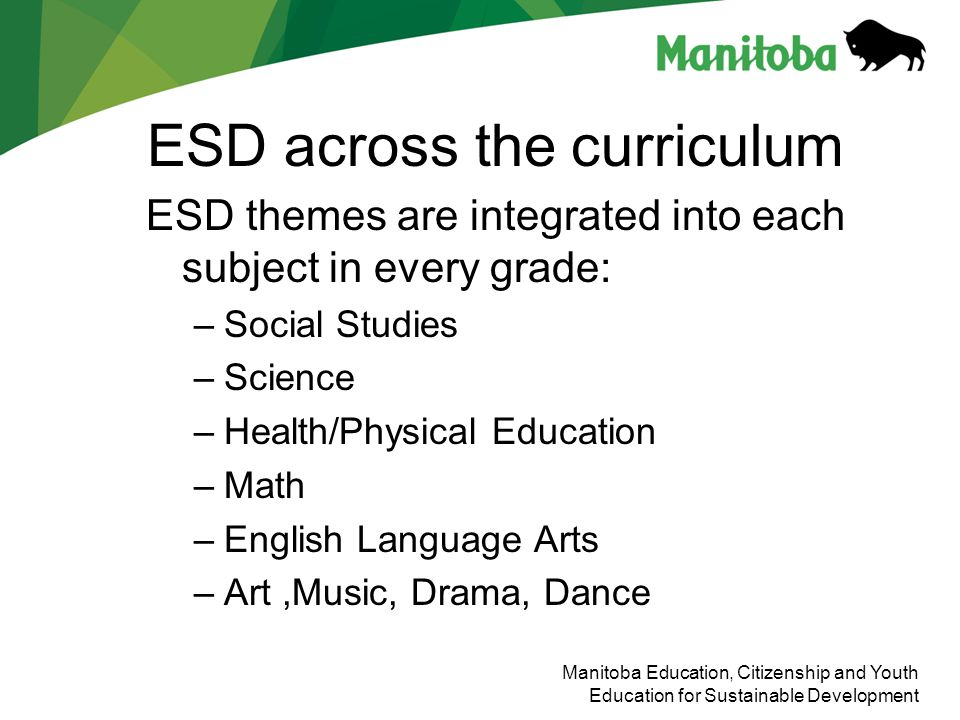 Manitoba Education, Citizenship and Youth Education for Sustainable Development ESD across the curriculum ESD themes are integrated into each subject