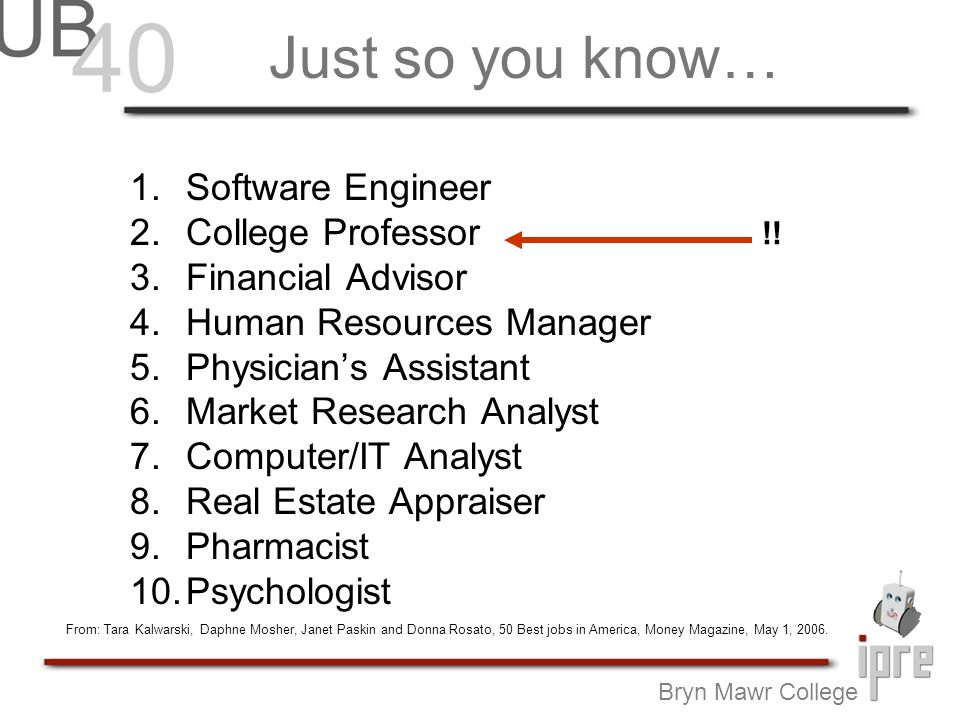 Just so you know… 1.Software Engineer 2.College Professor 3.Financial Advisor 4.Human Resources Manager 5.Physicians Assistant 6.Market Research Analyst 7.Computer/IT Analyst 8.Real Estate Appraiser 9.Pharmacist 10.Psychologist Bryn Mawr College !.