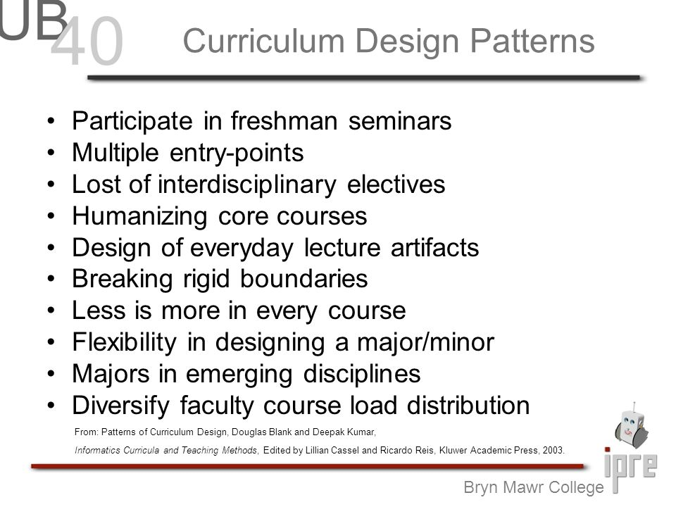 Curriculum Design Patterns Bryn Mawr College Participate in freshman seminars Multiple entry-points Lost of interdisciplinary electives Humanizing core courses Design of everyday lecture artifacts Breaking rigid boundaries Less is more in every course Flexibility in designing a major/minor Majors in emerging disciplines Diversify faculty course load distribution From: Patterns of Curriculum Design, Douglas Blank and Deepak Kumar, Informatics Curricula and Teaching Methods, Edited by Lillian Cassel and Ricardo Reis, Kluwer Academic Press, 2003.