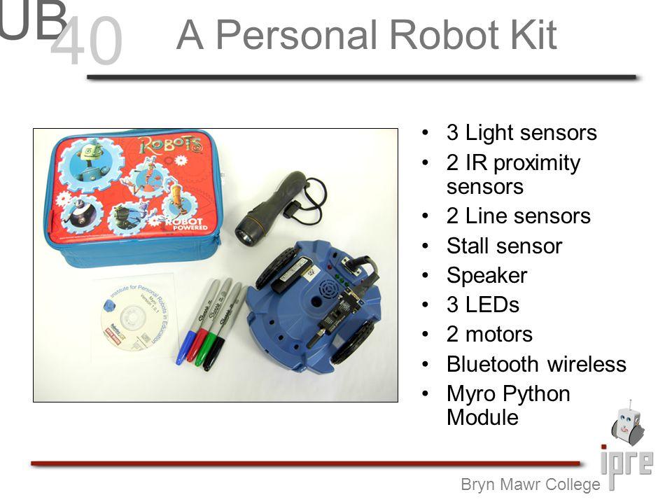 A Personal Robot Kit Bryn Mawr College 3 Light sensors 2 IR proximity sensors 2 Line sensors Stall sensor Speaker 3 LEDs 2 motors Bluetooth wireless Myro Python Module