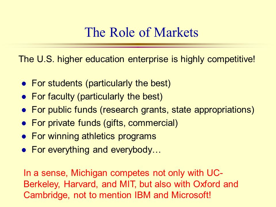 The Role of Markets l For students (particularly the best) l For faculty (particularly the best) l For public funds (research grants, state appropriat