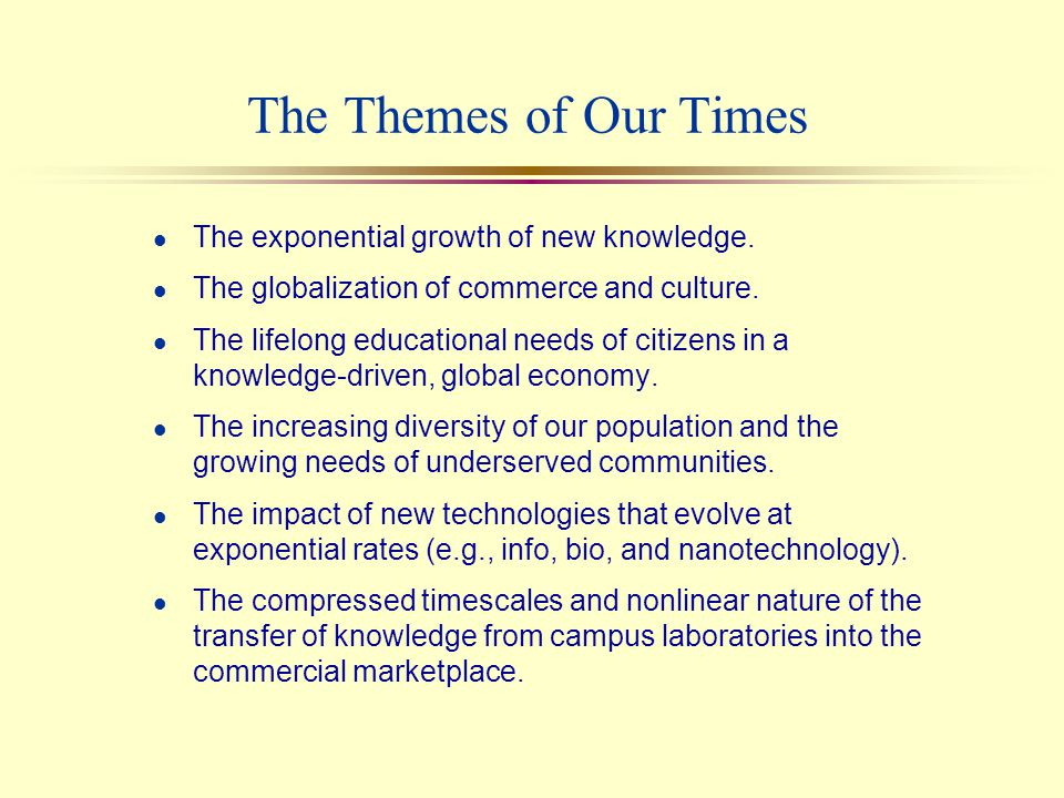 Forces of Change A Changing World The Knowledge Explosion Globalization High Performance Workplace Diversity Technological Change Knowledge Transfer Forces on the University Economics Societal Needs Technology Markets Evolution.