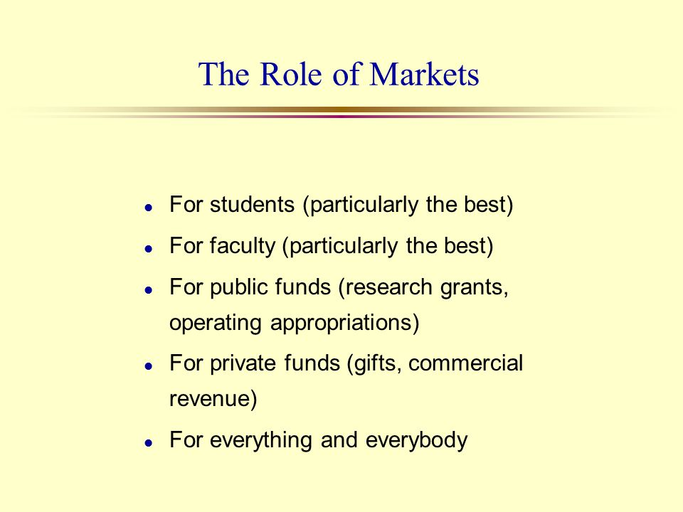 The Role of Markets l For students (particularly the best) l For faculty (particularly the best) l For public funds (research grants, operating approp