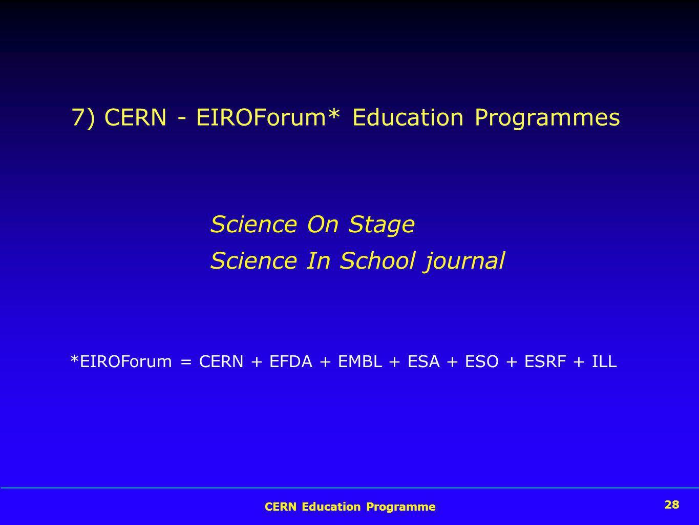 28 CERN Education Programme 28 7) CERN - EIROForum* Education Programmes Science On Stage Science In School journal *EIROForum = CERN + EFDA + EMBL + ESA + ESO + ESRF + ILL