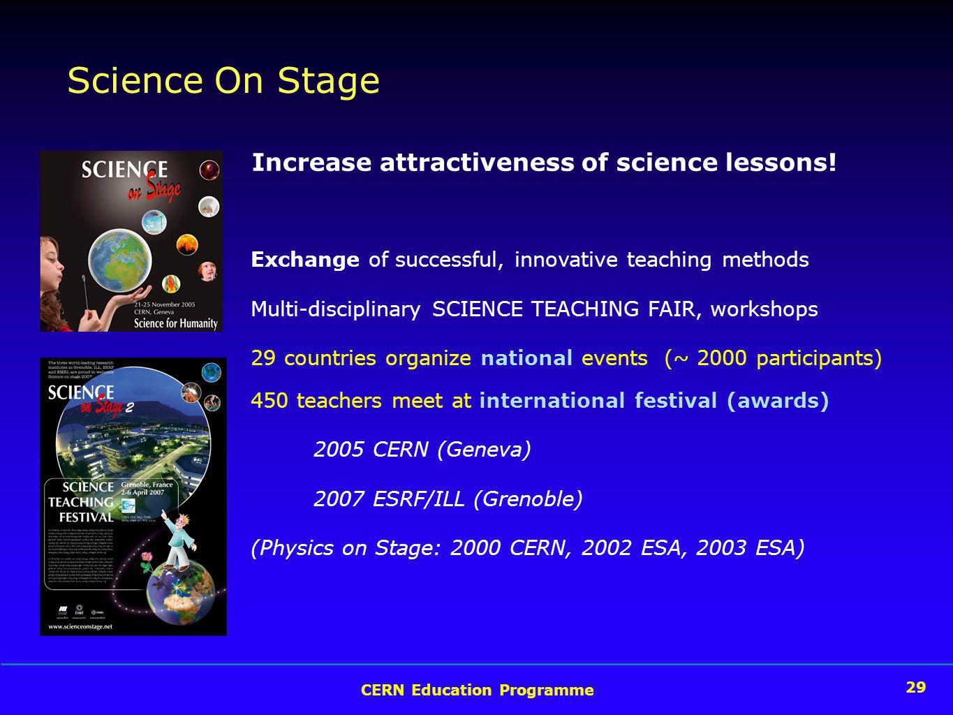29 CERN Education Programme 29 Science On Stage Exchange of successful, innovative teaching methods Multi-disciplinary SCIENCE TEACHING FAIR, workshops 29 countries organize national events (~ 2000 participants) 450 teachers meet at international festival (awards) 2005 CERN (Geneva) 2007 ESRF/ILL (Grenoble) (Physics on Stage: 2000 CERN, 2002 ESA, 2003 ESA) Increase attractiveness of science lessons!