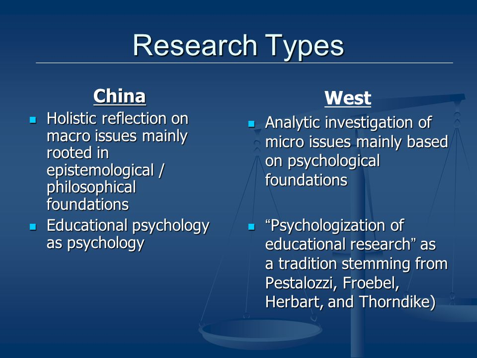 Research Types China Holistic reflection on macro issues mainly rooted in epistemological / philosophical foundations Holistic reflection on macro issues mainly rooted in epistemological / philosophical foundations Educational psychology as psychology Educational psychology as psychology West Analytic investigation of micro issues mainly based on psychological foundations Psychologization of educational research as a tradition stemming from Pestalozzi, Froebel, Herbart, and Thorndike)