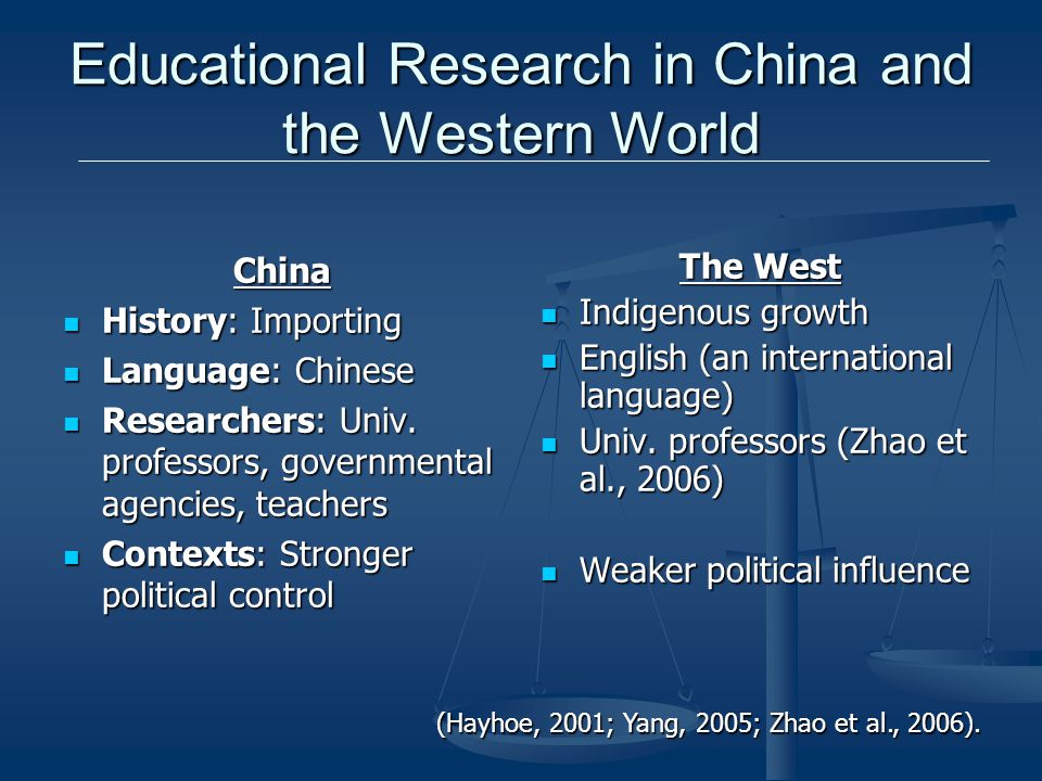 Educational Research in China and the Western World China History: Importing History: Importing Language: Chinese Language: Chinese Researchers: Univ.