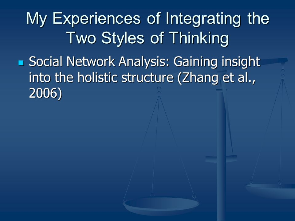 My Experiences of Integrating the Two Styles of Thinking Social Network Analysis: Gaining insight into the holistic structure (Zhang et al., 2006) Social Network Analysis: Gaining insight into the holistic structure (Zhang et al., 2006)