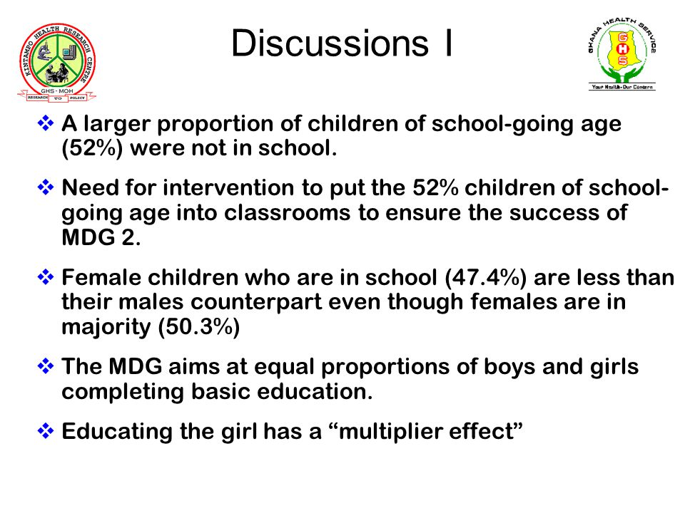 Discussions I A larger proportion of children of school-going age (52%) were not in school.
