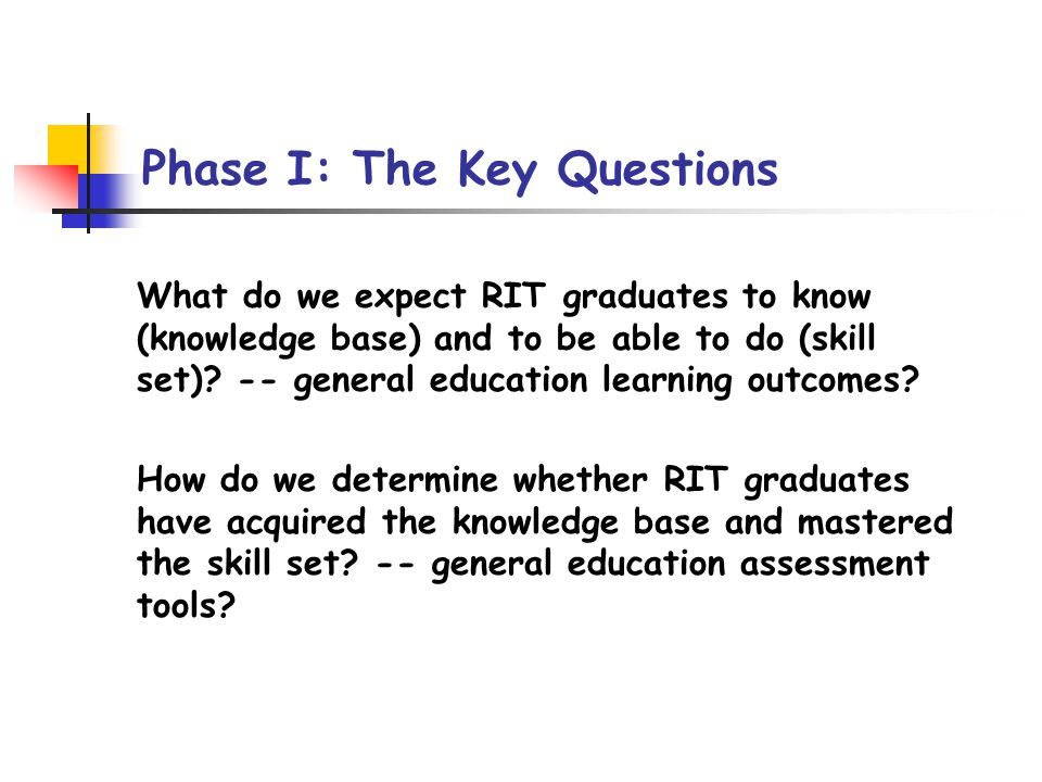 Phase I: The Key Boundary Conditions Regulations of the Commissioner, New York State Education Department RIT Strategic Plan: Category of One University: Uniquely Blending Academic Programs with Experiential Learning for Student Success.