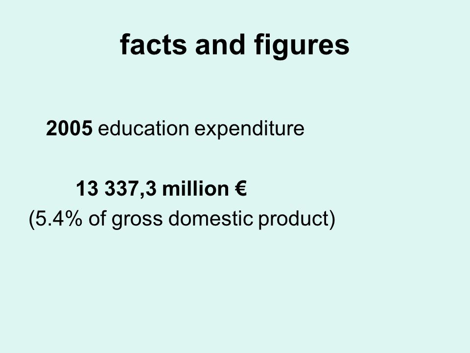 facts and figures 2005 education expenditure 13 337,3 million (5.4% of gross domestic product)