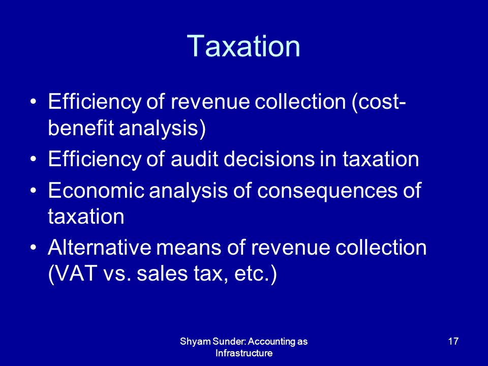 Shyam Sunder: Accounting as Infrastructure 17 Taxation Efficiency of revenue collection (cost- benefit analysis) Efficiency of audit decisions in taxation Economic analysis of consequences of taxation Alternative means of revenue collection (VAT vs.