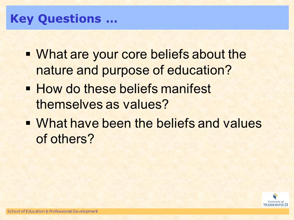 School of Education & Professional Development Objectives … Explain and evaluate the values and attitudes of individuals towards education (schooling – schools) Provide examples of educational beliefs and attitudes – theorists Explain and exemplify the concept of reflection in practice.