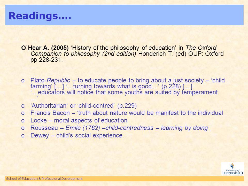School of Education & Professional Development Readings… White J.