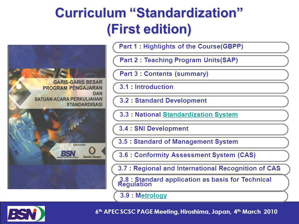 8 6 th APEC SCSC PAGE Meeting, Hiroshima, Japan, 4 th March 2010 Curriculum Standardization (First edition) Part 1 : Highlights of the Course(GBPP) Part 2 : Teaching Program Units(SAP) Part 3 : Contents (summary) 3.1 : Introduction 3.2 : Standard Development 3.3 : National Standardization SystemStandardization System 3.6 : Conformity Assessment System (CAS) 3.7 : Regional and International Recognition of CAS 3.8 : Standard application as basis for Technical Regulation 3.9 : Metrologyetrology 3.4 : SNI Development 3.5 : Standard of Management System