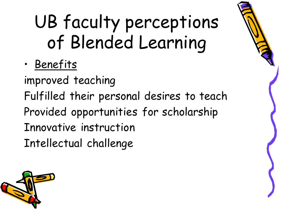 UB faculty perceptions of Blended Learning Benefits improved teaching Fulfilled their personal desires to teach Provided opportunities for scholarship Innovative instruction Intellectual challenge