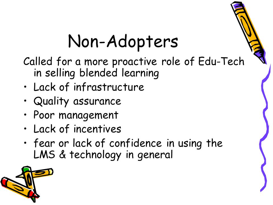 Non-Adopters Called for a more proactive role of Edu-Tech in selling blended learning Lack of infrastructure Quality assurance Poor management Lack of incentives fear or lack of confidence in using the LMS & technology in general