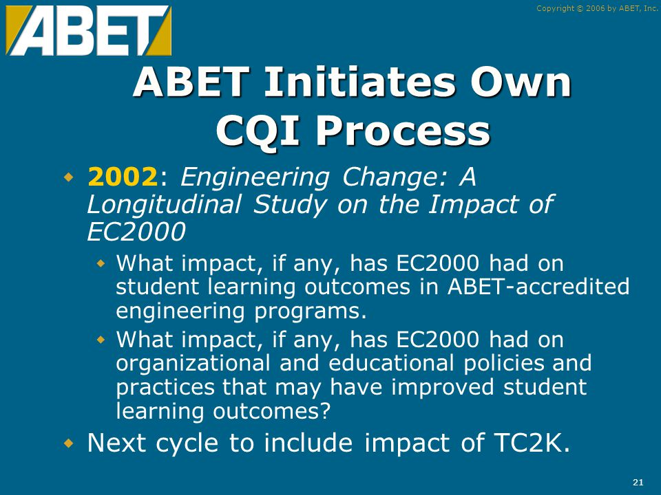 Copyright © 2006 by ABET, Inc. 20 Quality and Continuous Improvement We know what we do.
