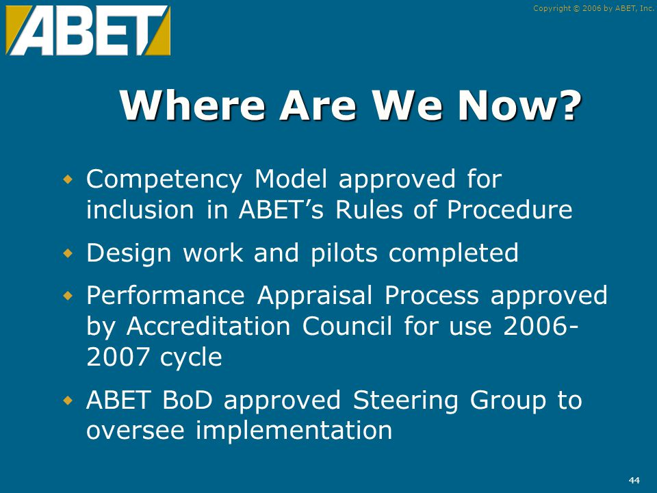 Copyright © 2006 by ABET, Inc. 43 Training What is different.