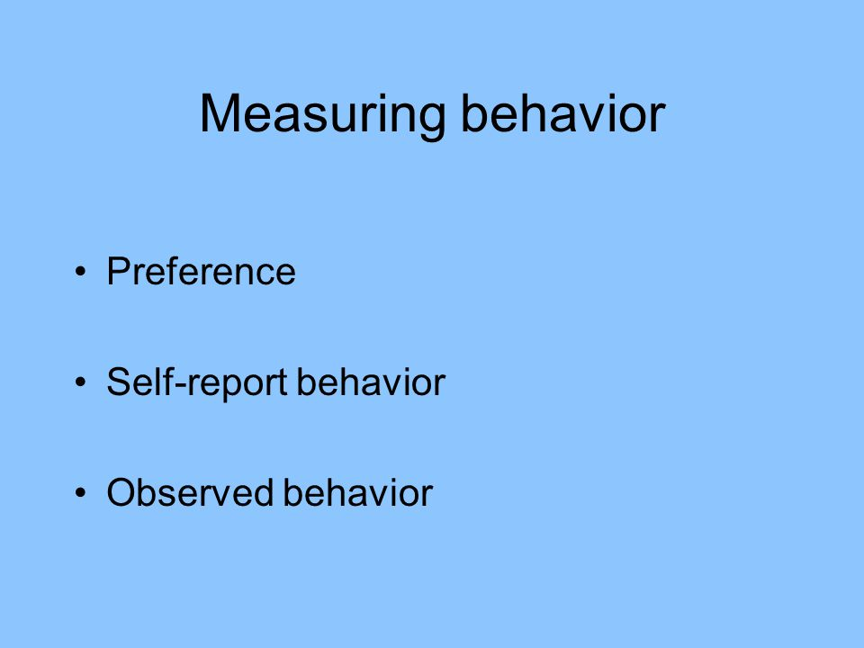 Measuring behavior Preference Self-report behavior Observed behavior