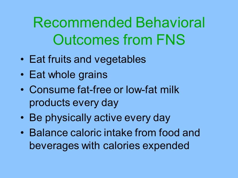 Recommended Behavioral Outcomes from FNS Eat fruits and vegetables Eat whole grains Consume fat-free or low-fat milk products every day Be physically active every day Balance caloric intake from food and beverages with calories expended