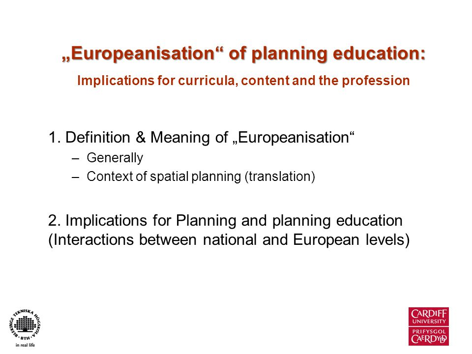 Europeanisation (Generally)...