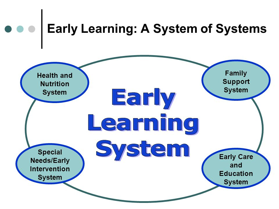 Early Learning: A System of Systems Health and Nutrition System Family Support System Special Needs/Early Intervention System Early Care and Education System