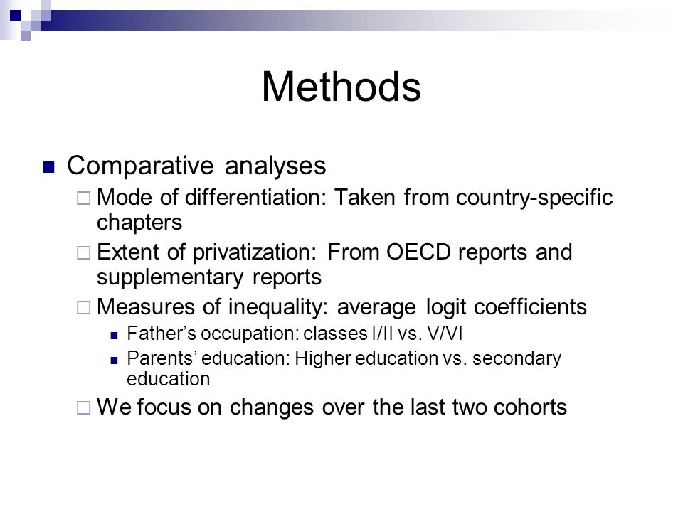 Methods Comparative analyses Mode of differentiation: Taken from country-specific chapters Extent of privatization: From OECD reports and supplementary reports Measures of inequality: average logit coefficients Fathers occupation: classes I/II vs.