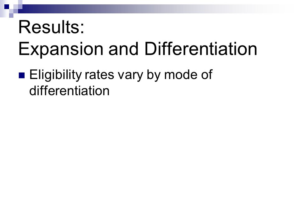 Results: Expansion and Differentiation Eligibility rates vary by mode of differentiation